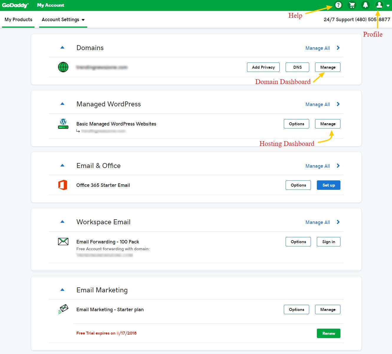 Godaddy wordpress hosting dashboard