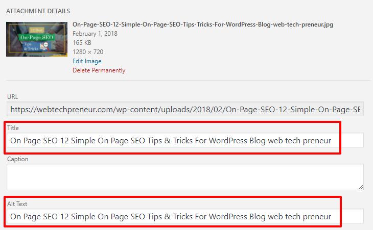 set focus keyword in wordpress post images