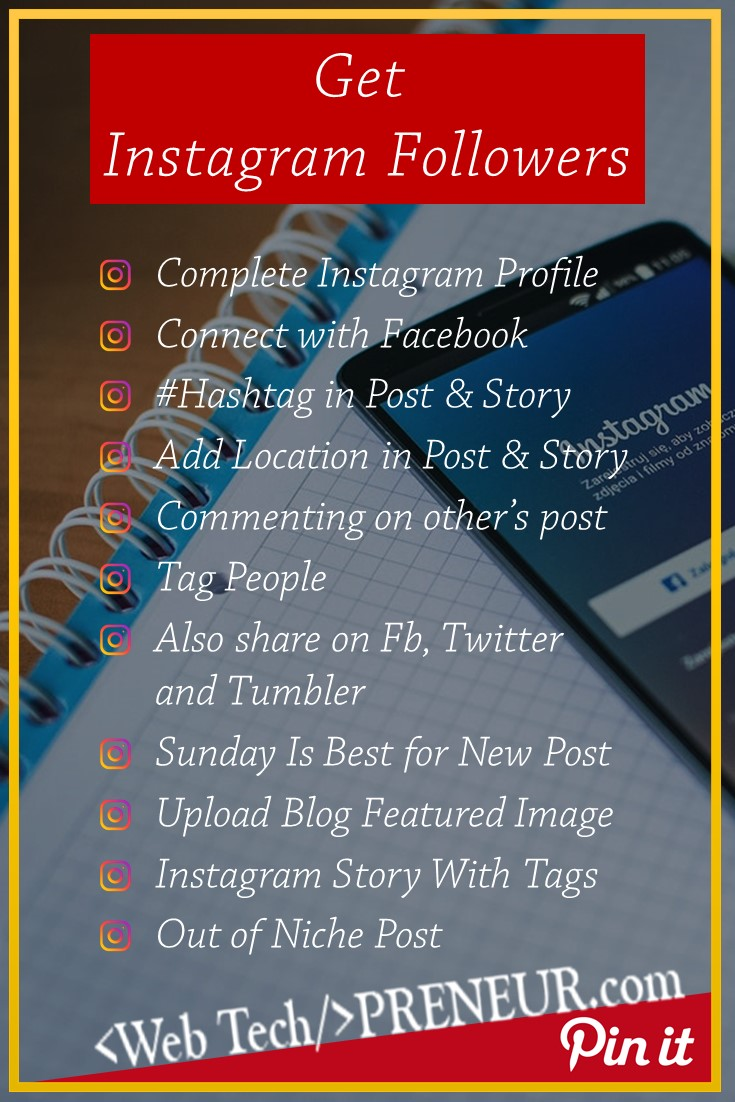 Get instagram followers Pinterest Graphics Web Tech Preneur