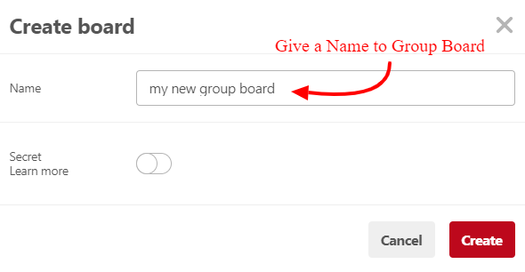 Pinterest create group board