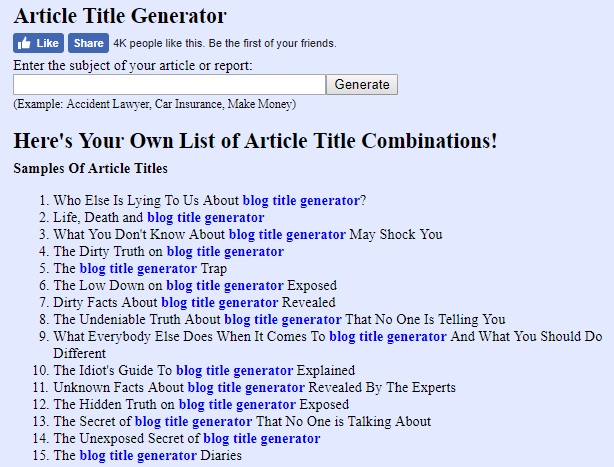 SEO Blog Heading Generator