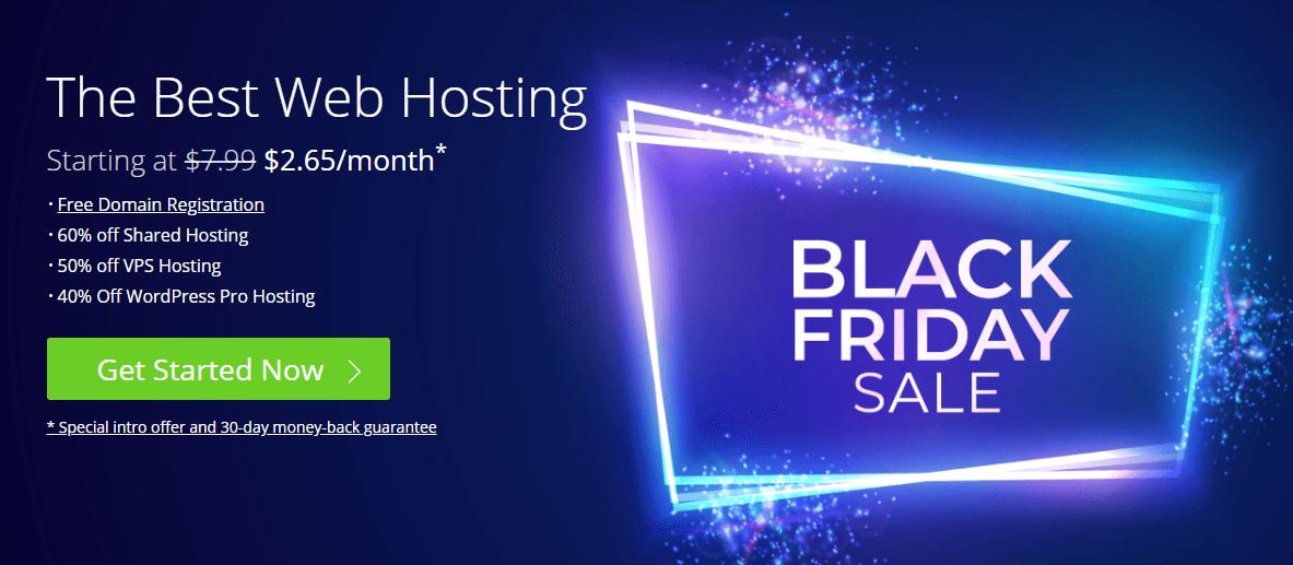 Bluehost black friday sale banner