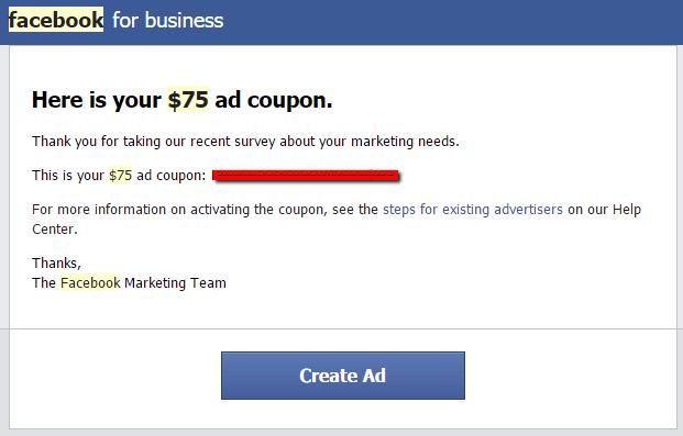 facebook ads coupon buy