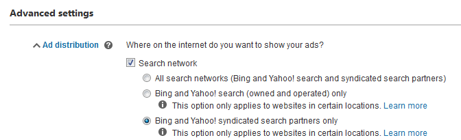 Bing Ads offers more control over search partner targeting