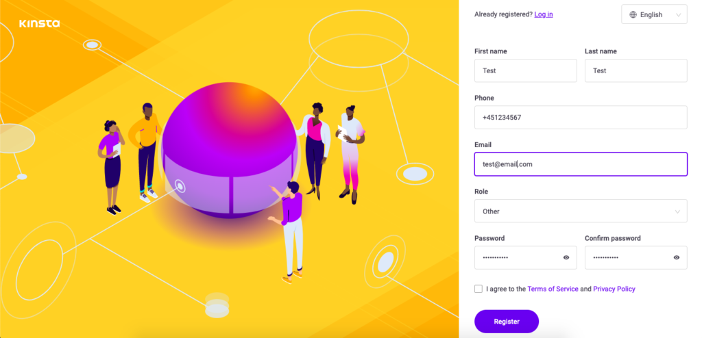 stat a website with Kinsta