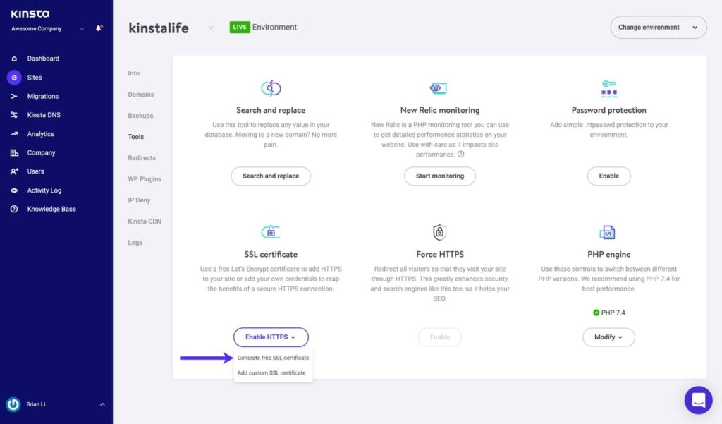 How to activate your free SSL on Kinsta